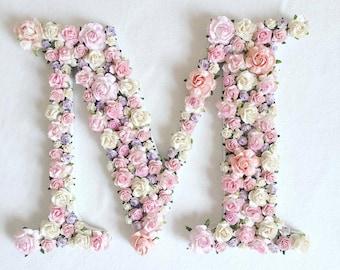 Custom order single floral letter //baby shower gift// wedding decor // home decor// Christmas Gift