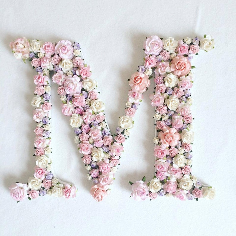 Custom order single floral letter //baby shower gift// wedding image 0