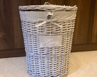 large grey wicker laundry basket home shabby chic rustic distressed finish storage solution - Wicker Laundry Basket