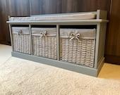 Grey Classy Vintage Shoe Storage Bench Window Seat Hallway Furniture Ottoman
