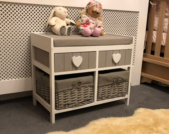 Home & Garden Benches & Stools White Storage Bench Unit Wicker Drawers Baskets Cushion Wood Shabby Chic Hallway