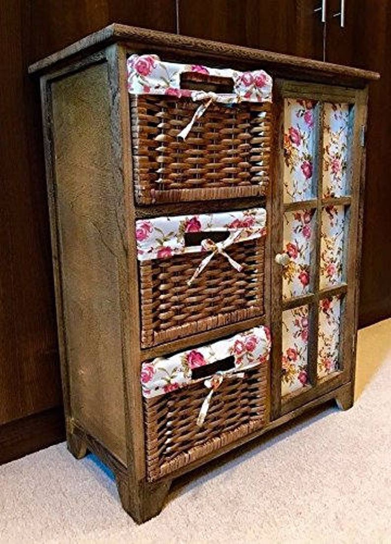 Chestnut Brown Storage Cabinet Wicker Floral Wood Baskets Etsy