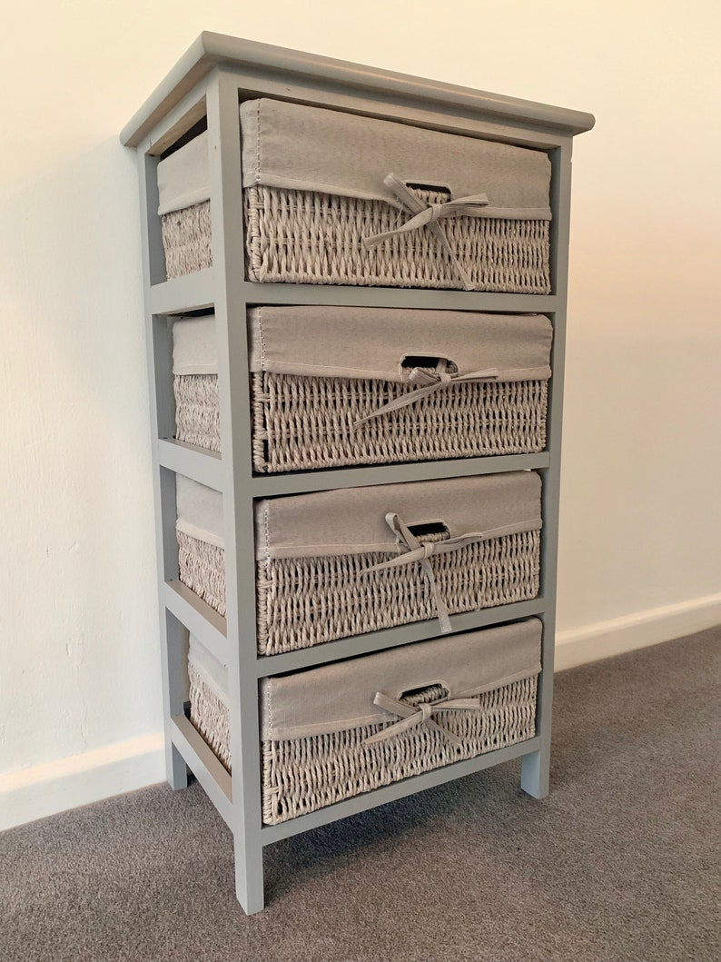 new product 49abd 3b359 Tall Grey Wicker Basket Drawers Wooden Ready Assembled Chest Of Drawers  Storage Solution Idea