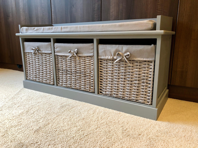 Charmant Grey Classy Vintage Shoe Storage Bench Window Seat Hallway