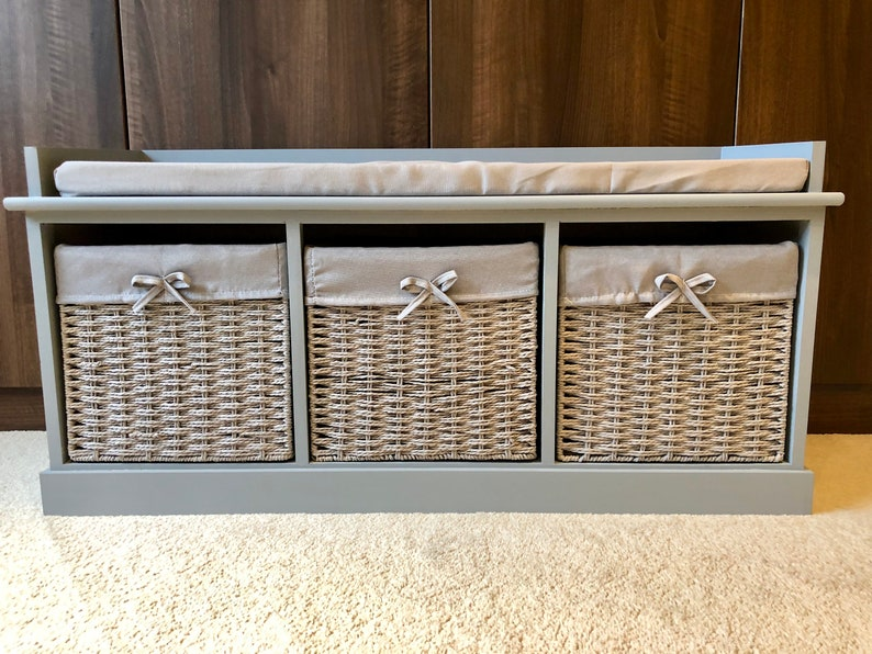 Grey Classy Vintage Shoe Storage Bench Window Seat Hallway | Etsy