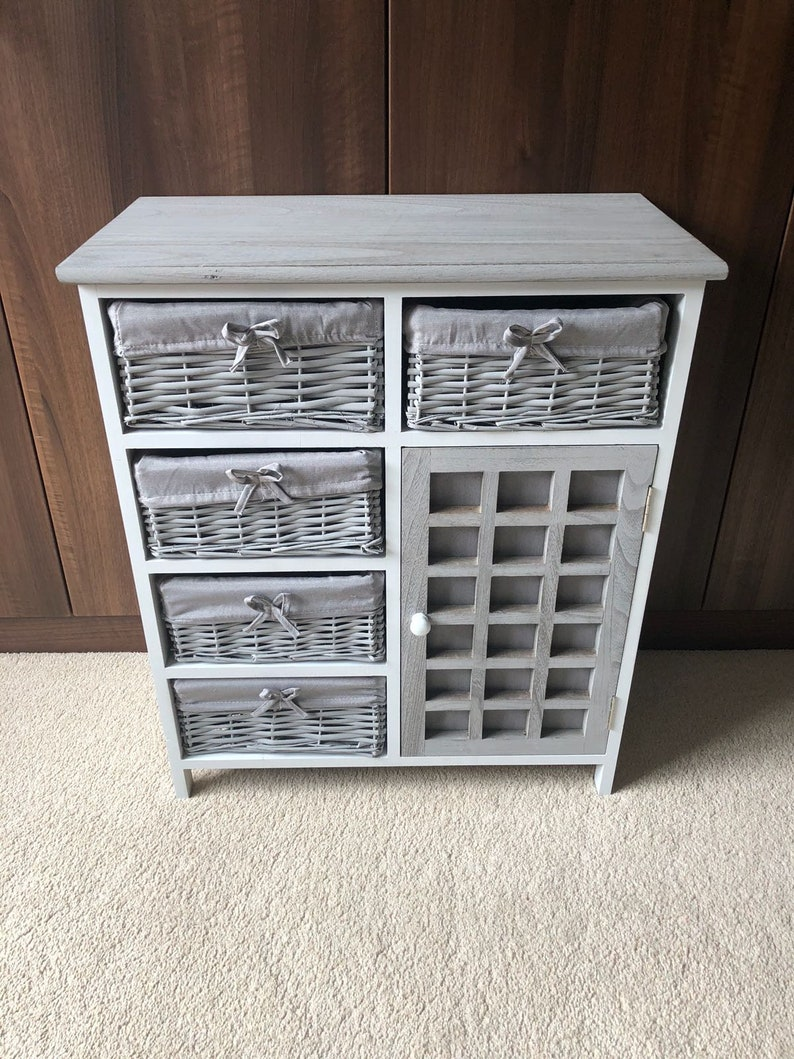 Home & Garden Generous Chest Of Drawers With 2 Drawers Woven Rattan White Cabinet Bedside Table Furniture