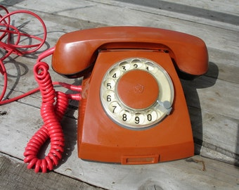Retro phone - Old telephone-Rotary phone - Soviet telephone-Made in USSR -Retro home decor -Vintage red rotary phone