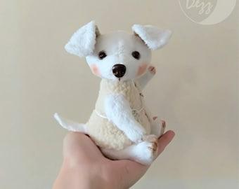 Plush puppy-Interior toy-Plush toy-Little dog 15 cm (6 inches)-White puppy-Soft toy-Plush dog-White plush toy-New year gift-Little white dog