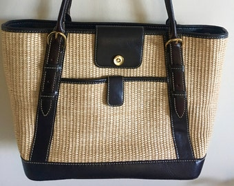 8c391b7f79ca Vintage Designer Maxx New York Large Over the Shoulder Straw and Genuine  Leather