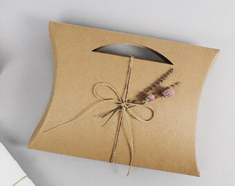 5 Kraft pillow boxes with cut out,large pillow box,gift box,flat gift box,gift packaging,cute gift box,favor boxes,Kraft box,plain gift box