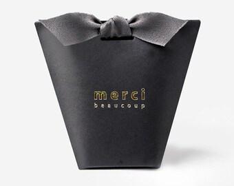 3 Black small gift boxes with ribbon, unique gift box, merci, mini gift box, small favor box, accessory gift box, small wedding favor box
