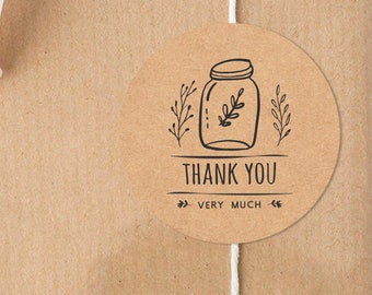 24 Jar gift stickers, gift wrapping, gift label, gift sticker, cute sticker, blank sticker, organic, thank you, handmade, custom sticker