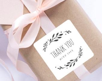 24 Leaf sticker, thank you labels, handmade sticker, gift, gift labels, kraft label, handmade, gift wrapping, personalized sticker, merci
