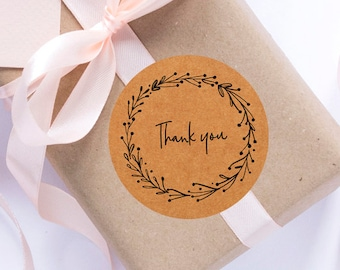 24 Wreath round sticker, thank you labels, handmade sticker, gift, gift labels, kraft label, handmade, gift wrapping, personalized sticker