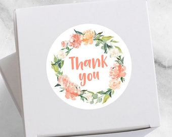24 Floral round stickers, thank you sticker, cute sticker, wedding favor, gift wrapping, custom sticker, gift label, for you, with love, ty
