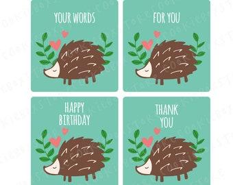 24 Woodland friend porcupine stickers, thank you, name sticker, kids party, happy birthday, personalized stickers, custom sticker, party