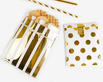 5 foil gift bags, stripe gift bags, polka dot gift bags, wedding favor bags, treat bags, small gift bag, gift envelope, gold gift bag