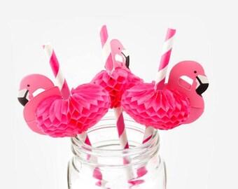 4 Flamingo straws, party decor, tropical party, flamingo, summer party, birthday party, wedding decor, party straw, drink straw, paper straw