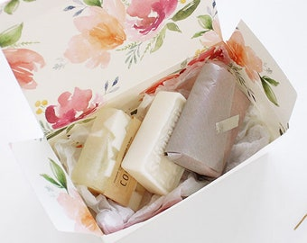 5 floral gift boxes, gift wrapping, wedding favor box, cookie box, bakery box, gift box, party favor box, white gift box, baby shower