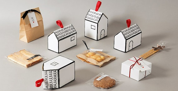 5 House Shape Gift Boxes Favor Boxes Cookie Box Party Favor House Shape Box White Box Cute Gift Box Unique Gift Box House Warming Gift
