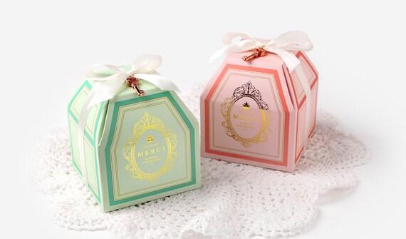 2 Merci Gift Boxes With White Ribbon Gift Box Small Gift Box Small Candy Box Gift Boxes Green Gift Box Pink Gift Box Cute Gift Box