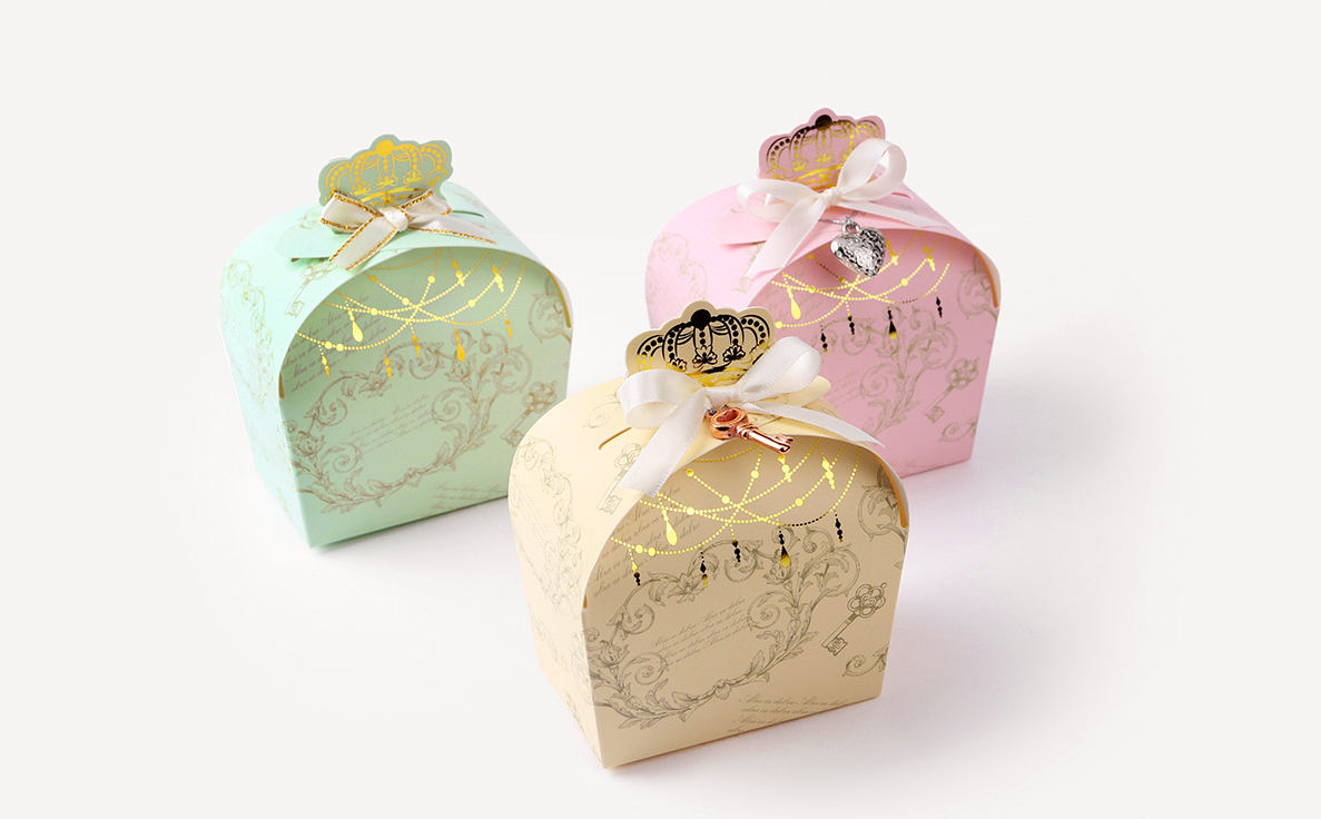 Favor Gift Boxes: 2 Gold Crown Gift Boxes Small Gift Box Favor Box Mint Gift