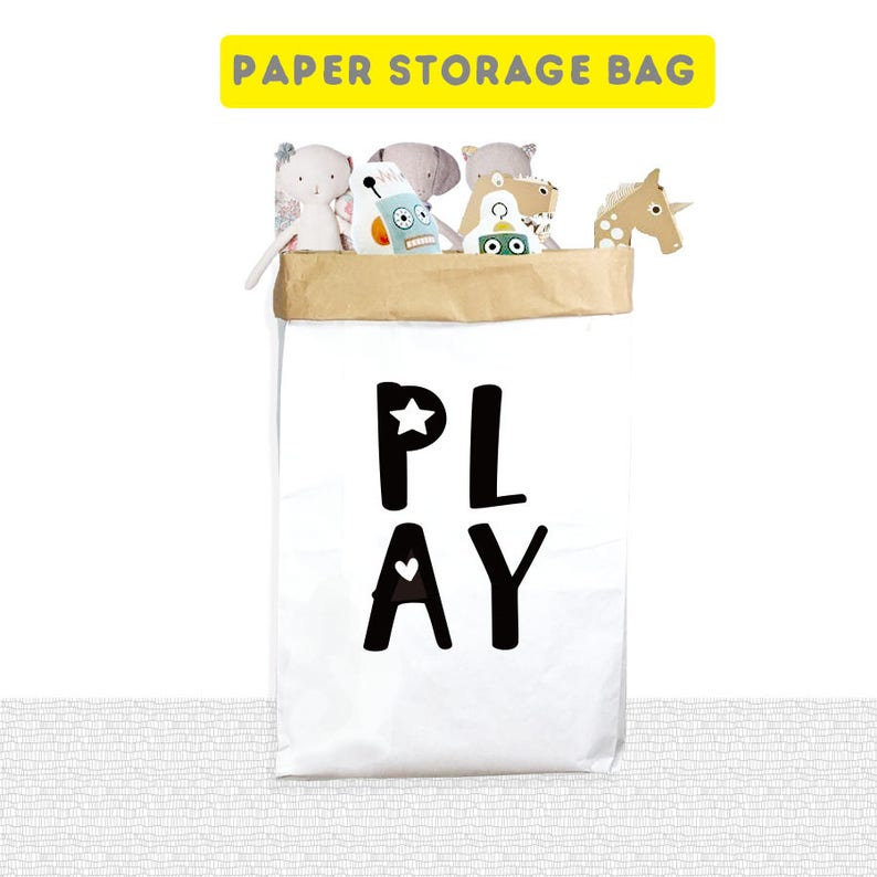 PLAY Paper Storage Bags, Large Paper Storage Bags, Clothes Storage Bags,  Laundry Storage Bag, Cute Paper Storage Bag, Toy Storage Bag, Kids