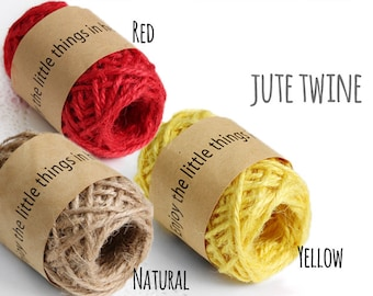 10 YRD natural jute twine, color jute twine, dye jute twine, twine, craft supplies, gift packaging, strings for boxes, strings for tags