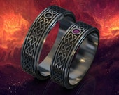 his and hers Celtic wedding bands, gothic wedding ring, black celtic ring, celtic ring set, celtic ring men, black wedding ring set