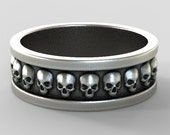 pirate skull ring, sterling silver oxidized, jack sparrow, mens skull band