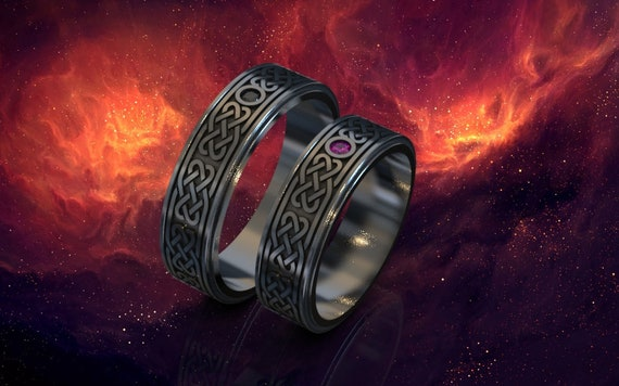His And Hers Celtic Wedding Bands Gothic Wedding Ring Black Etsy