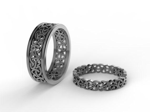 black Celtic wedding ring set, trinity celtic rings, black gold wedding  bands, black silver wdding ring, celtic ring set nordic wedding ring