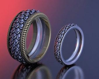 Dragon scales ring set, geek wedding rings set, dragon skin ring, fantasy rings, snake skin ring, d&d ring, medieval ring, norse ring