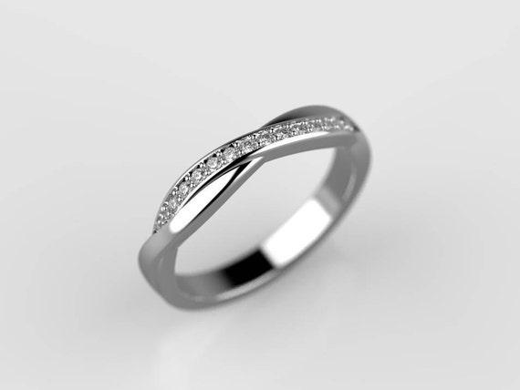 Crossover Diamond Ring Thin Diamond Ring Criss Cross Ring Etsy