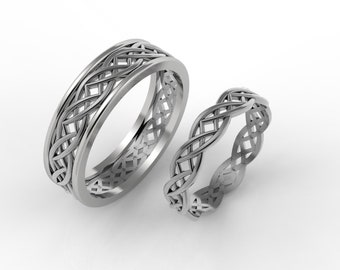 Celtic wedding ring set, his and hers celtic rings, Celtic wedding bands, gold celtic ring, knot ring, celtic ring set nordic wedding ring