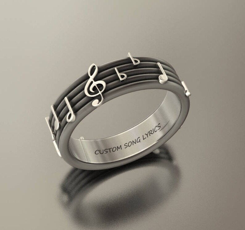 Custom music notes ring, song personlalized anniversary ring, boyfriend  girlfriend gift, rock, elton john, deep purple, led zeppelin, blues