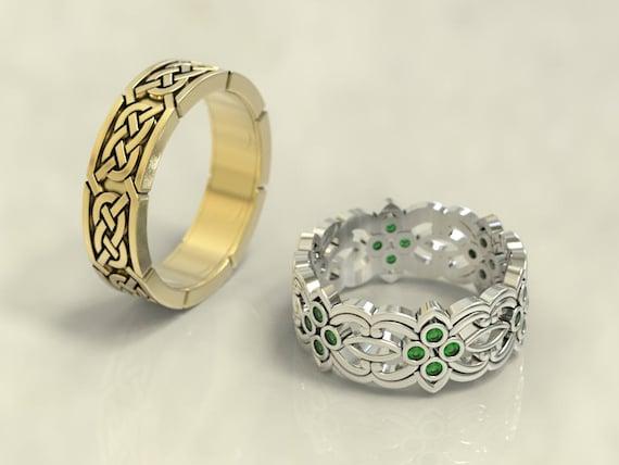 Celtic wedding band set gold celtic wedding ring palladium | Etsy