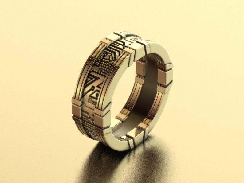 cyberpunk ring geek wedding ring circuit board ring image 0