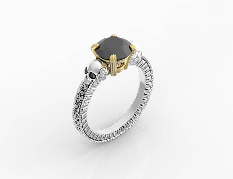 1ad9edc6fd5e45 Skull engagement ring skull wedding ring women Gothic   Etsy