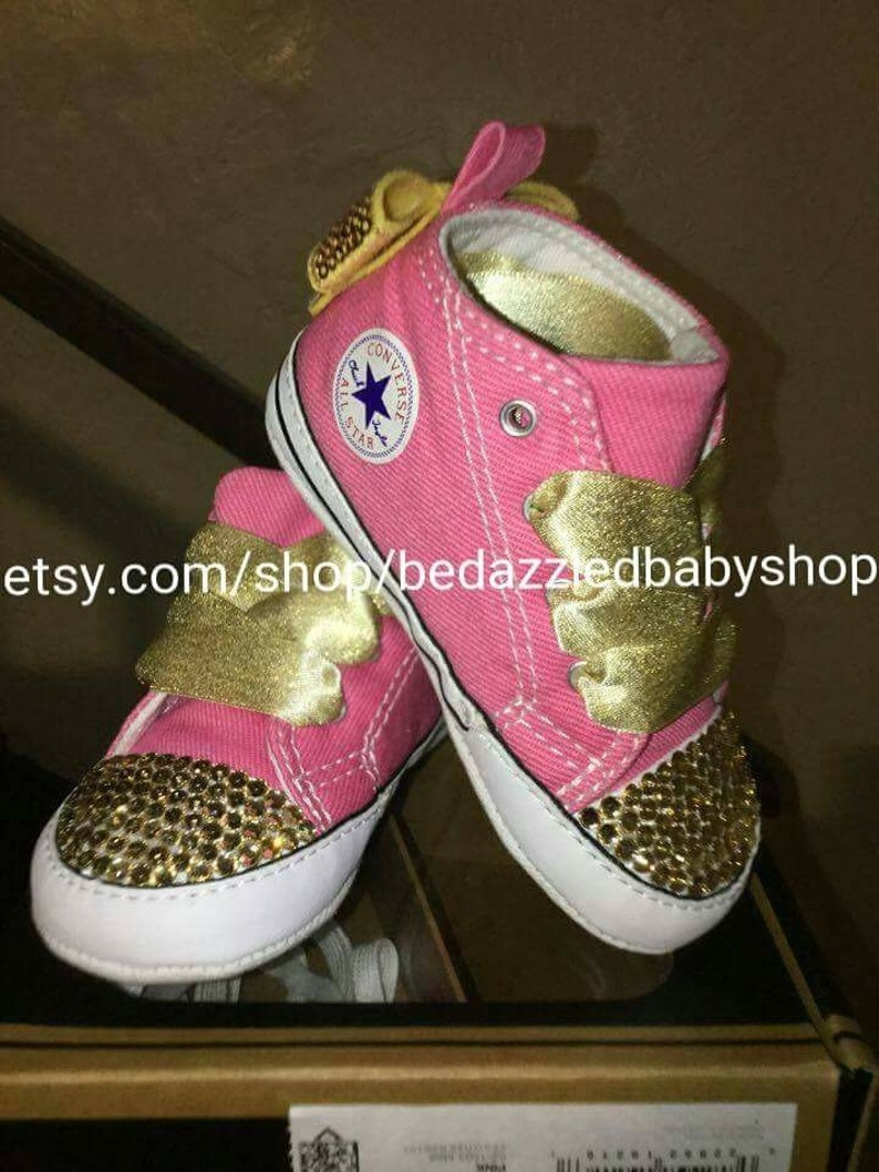 a244e8fe57ab Pink and Gold Bedazzled Converse Baby Toddler Shoes