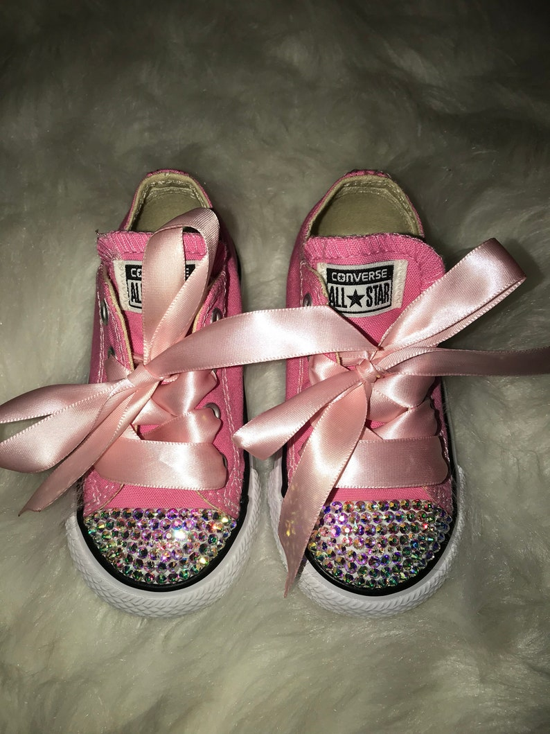 c8c492a66a8b Pink   AB Crystal Bedazzled Converse Baby Toddler Shoes