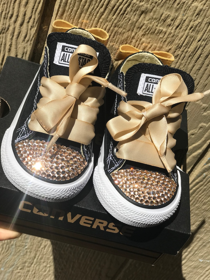 e124611c01ff Black   Gold Bedazzled Baby Toddler Converse