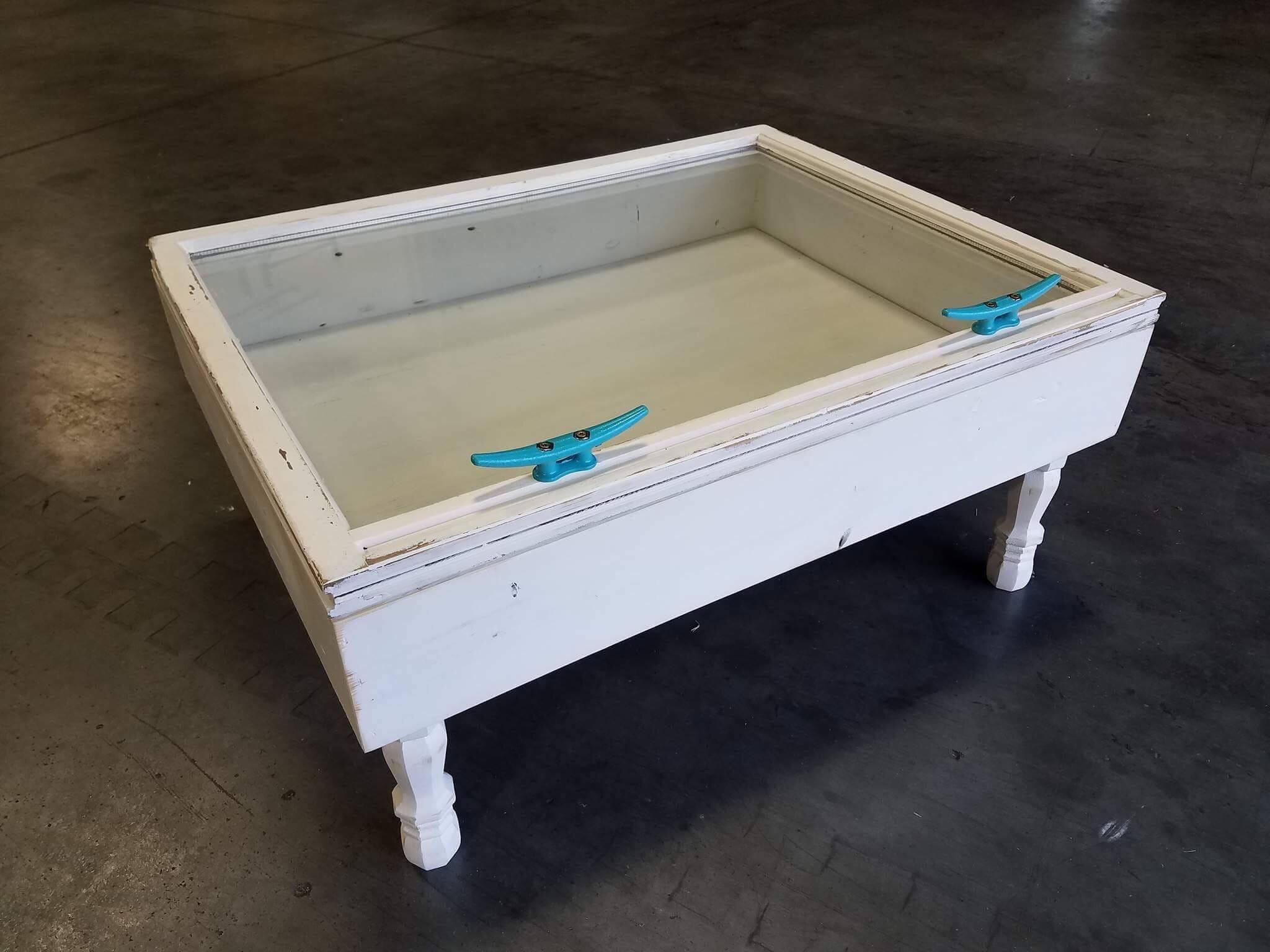 Sale Sea Shell Display Table Shadow Box Coffee Table Etsy