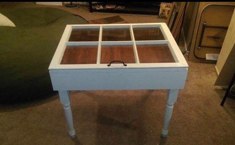Sale 6 Pane Accent Table Rustic End Table Shadow Box Etsy