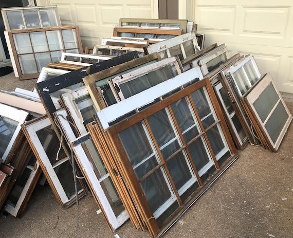 Windows For Sale >> On Sale Vintage Wood Windows 6 Pane Window Frame 8 Pane Wood Window Old Windows Old Wood Windows Gift For Mom 6 Pane Window Sash