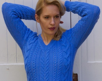 Hand knit wool sweater, Wool, sweater, fisherman sweater, knit sweater, hand knitted, Vneck sweater,