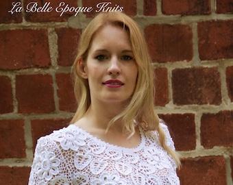 Irish crochet lace blouse, hand made crochet,  Irish lace, Irish crochet blouse, white Irish crochet, crocheted top
