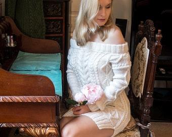 Cold Shoulder Dress, Handknit Dress, Womens Knit Dress, sweater dress, cable knit dress, warm dress, made to order