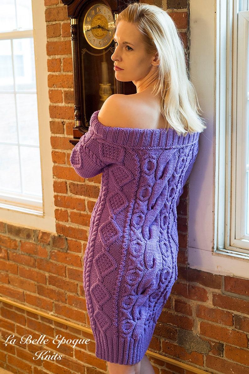 60bad8d81 Tejido a mano de lana punto vestido vestido de hombro frío | Etsy