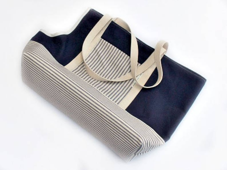 Custom Dog Carrier Tote Navy Blue Striped Canvas Pet Carrier image 0